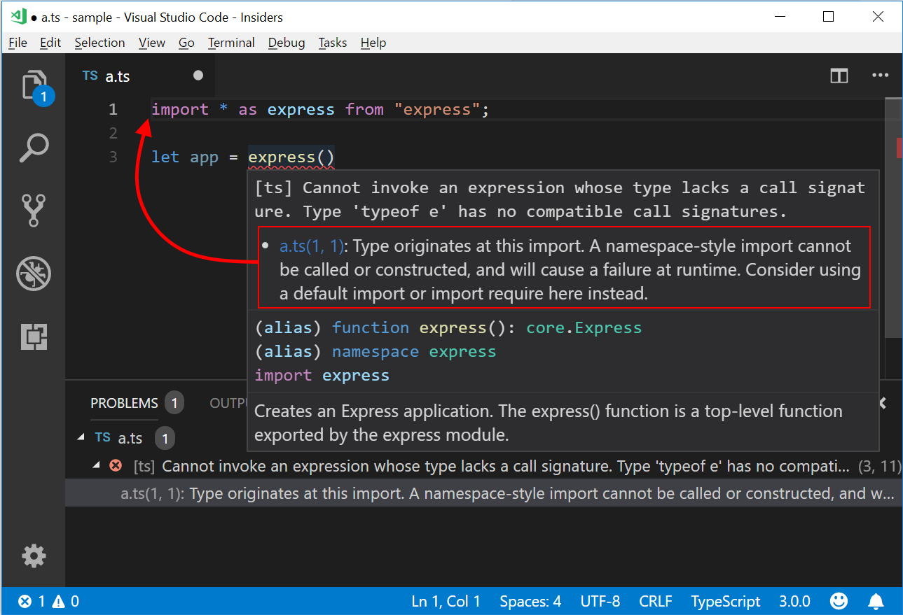 Using import * as express syntax can cause an error when calling express(). Here, the provided error tells the user not just that the call is invalid, but that it has occurred because of the way the user imported express.