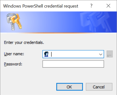 Screenshot of credential request