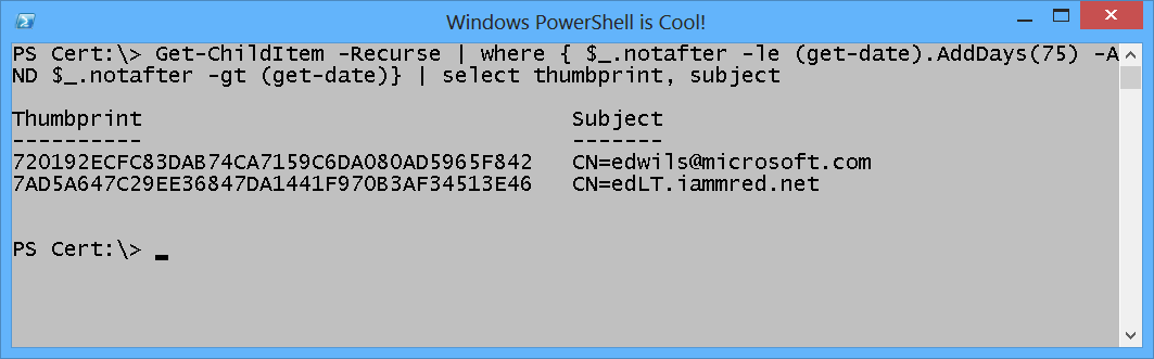 Use PowerShell to Find Certificates that are About to Expire