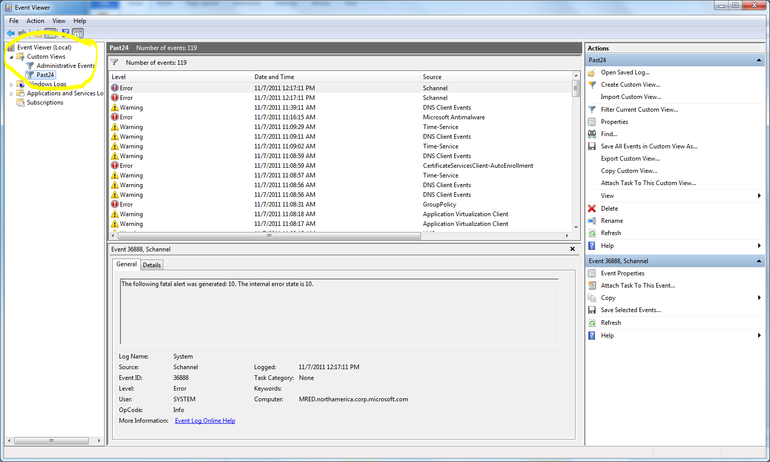 Image of Custom Views in Event Viewer