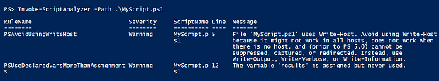 Result of running MyScript.ps1 to trigger PSSA rule violations