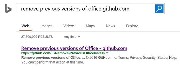 "Result of search for ""remove previous versions of office github.com"""
