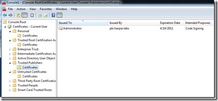 Image of certificate being trusted