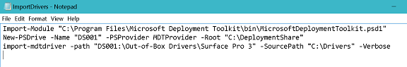 Screenshot of the PowerShell code that imported the driver.