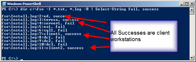 Image of all successes being client workstations