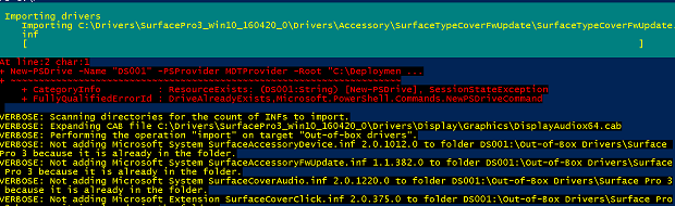 Screenshot of the result from pasting code to import a driver in the PowerShell console.