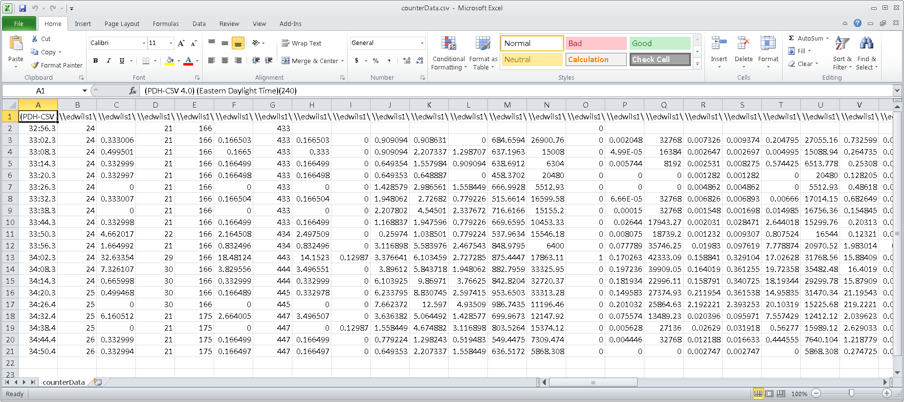 Image of CSV file created by running script and exporting counter information