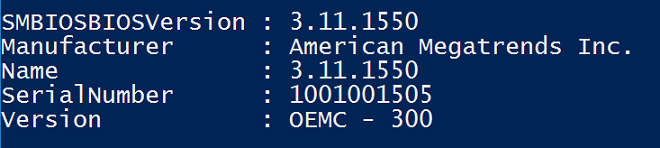 Results from Get-CimInstance Win32_Bios