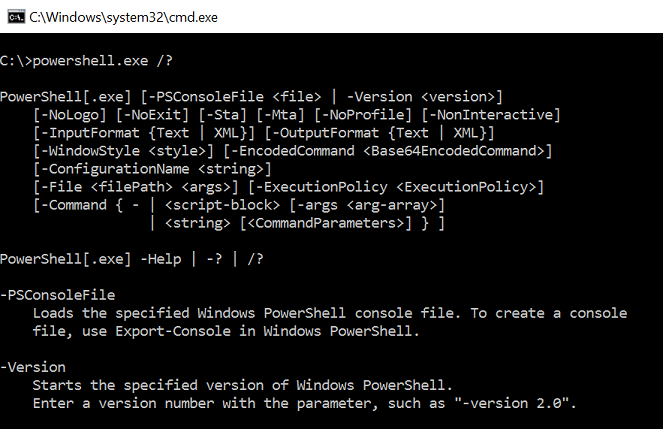 Result of powershell.exe /?