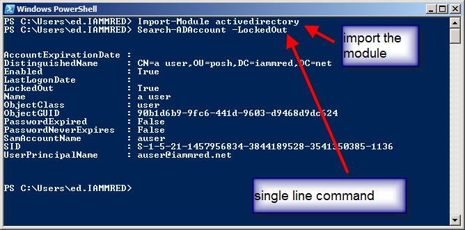 Image of Search-ADAccount and associated output