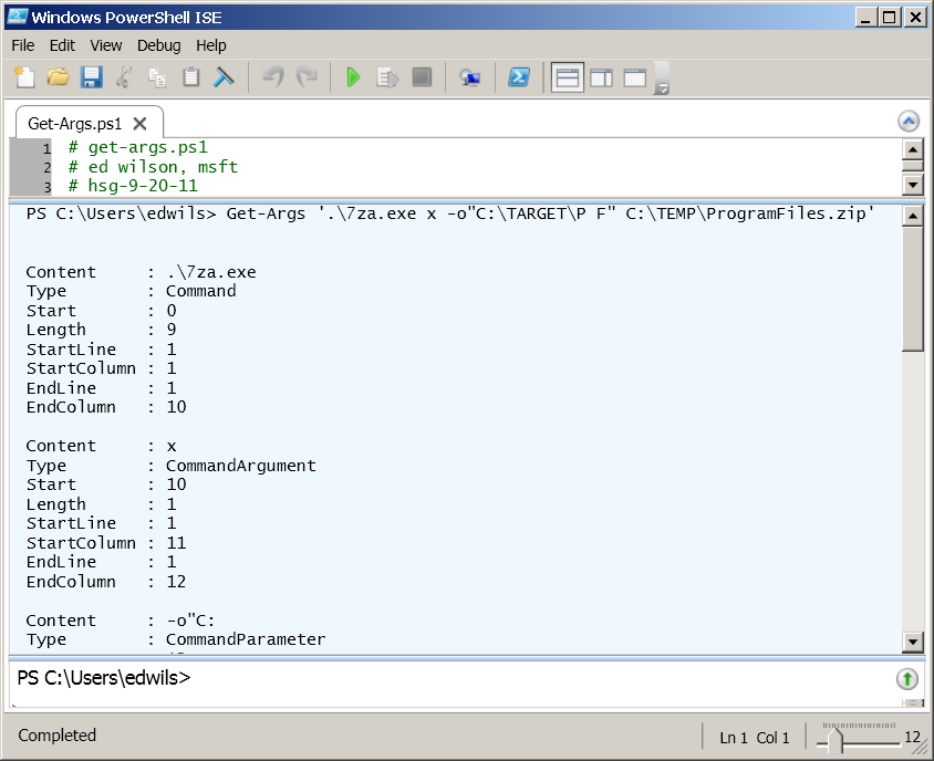 Image of Get-Args function easily parsing command