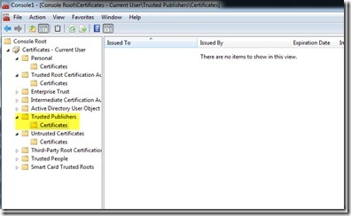 Image of ensuring certificate isn't already in trusted publishers list