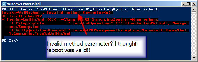 Image of error shown when attempting to use Invoke-WmiMethod to reboot computer