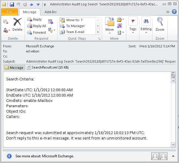 Image of email message