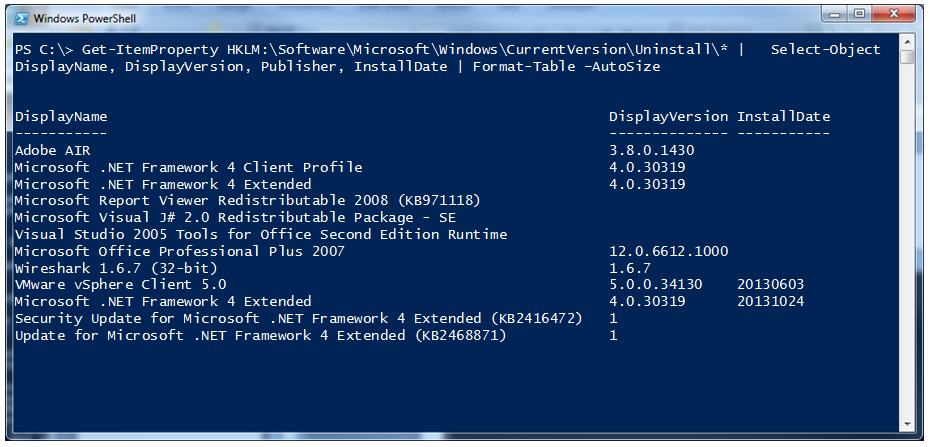 Wmi list installed drivers