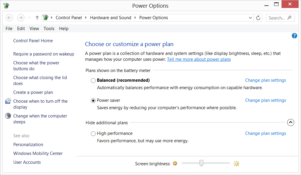 Image of Power Options dialog box