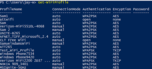 Get-WiFiProfile without parameters