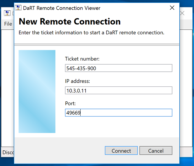 New Remote Connection dialog box