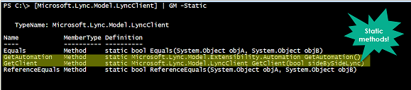 Screenshot of static methods.