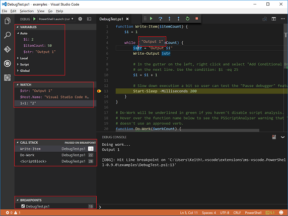 Debugging PowerShell script in Visual Studio Code – Part 1