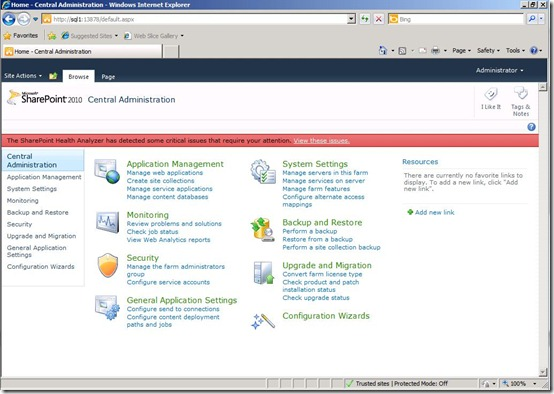 Image of SharePoint 2010 Central Administration