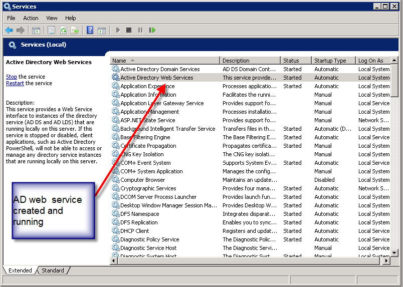 Image showing Active Directory Web Services is running