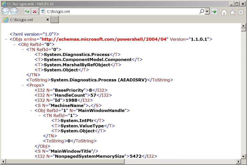 Image of XML file in an XML viewer