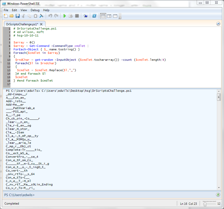 Image of script and associated output