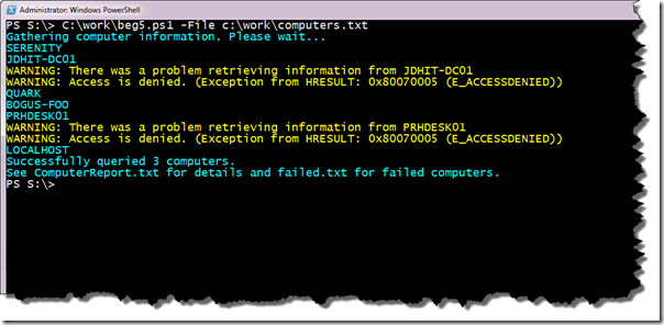 Image of script output