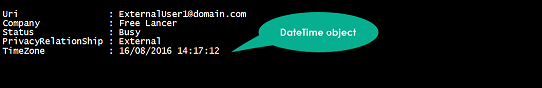 Results of the DateTime object