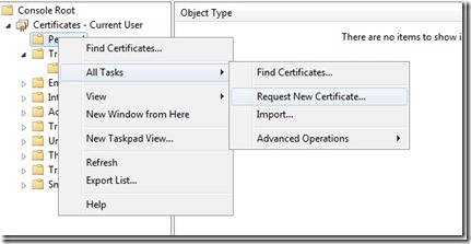 Image of requesting a new code signing certificate