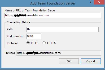 Image of Add Team Foundation Server dialog box