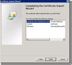 Image of finishing Certificate Import Wizard