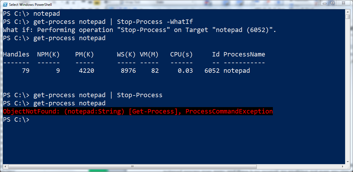 Image of commands and associated output