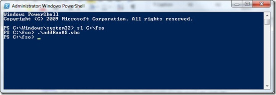 Image of running a VBS script in Windows PowerShell console