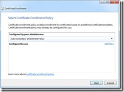 Image of selecting Active Directory Enrollment Policy