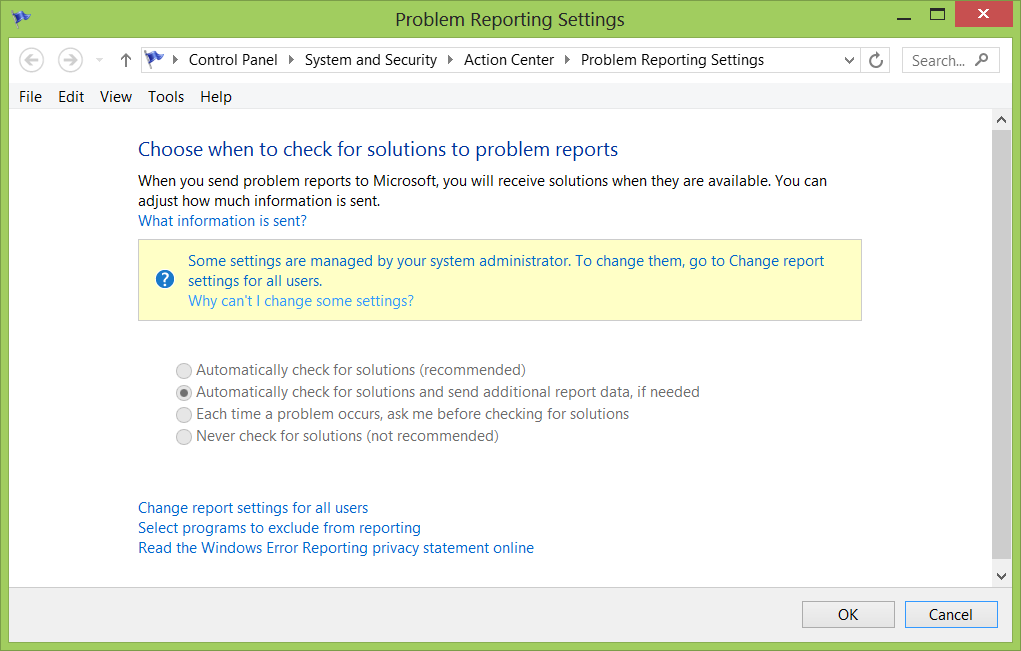 Image of Problem Reporting Setting page