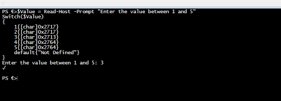 Simple PowerShell trick to get the values between 1 and 5 to show the respective symbols.