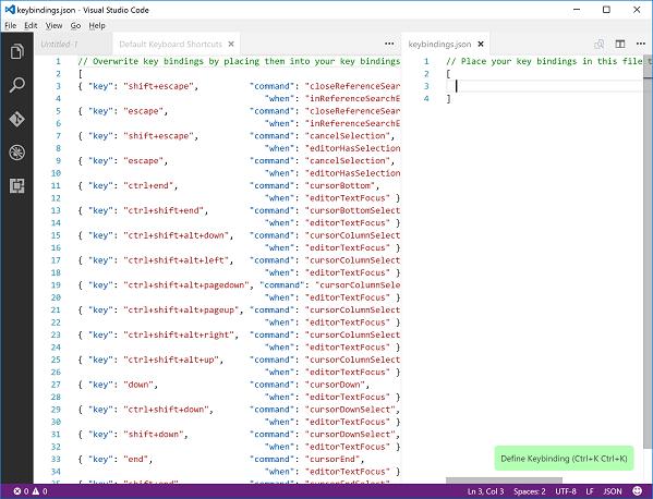 Editor window for customized keyboard shortcuts