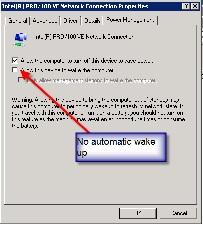 Image of network adapter not configured to allow device to wake computer