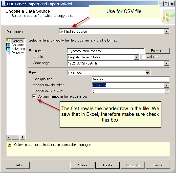 Image of using flat file source for CSV file in SQL Server Import and Export Wizard