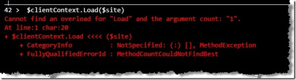 Image of Load() method passing in $site