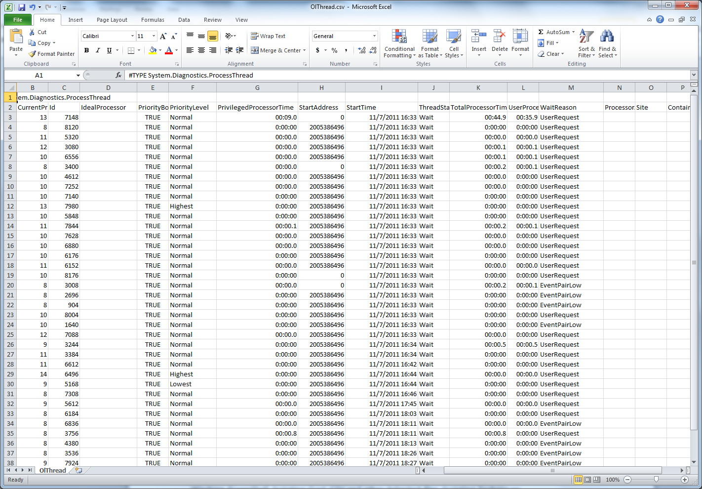 Image of newly created CSV file opened in Excel