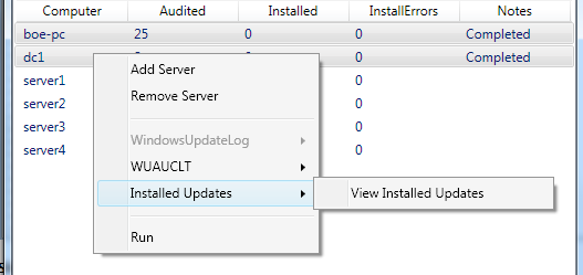 Image of View Installed Updates option