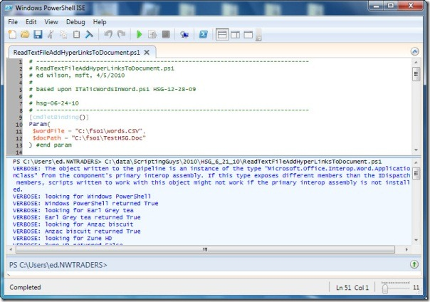 Image of script output from running script with -verbose parameter
