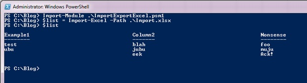 Image of spreadsheet in Windows PowerShell object form