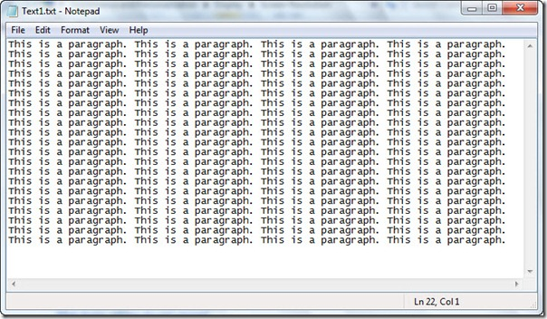 Image of text file with extra returns and line feeds removed