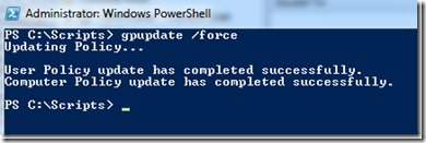 Image of results of running gpudate /force in Windows PowerShell
