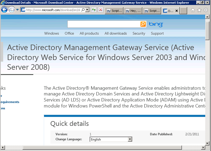 Image of Microsoft Download Center page