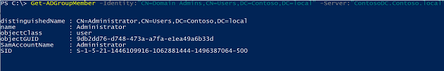 Screenshot of results from running Get-ADGroupMember in the PowerShell console.